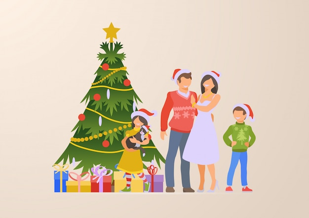 Flat happy family christmas tree and gift boxes vector illustration.