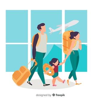 Flat happy family traveling background