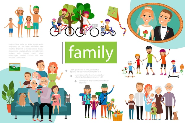 Flat happy family  with father, mother and kids having a healthy lifestyle illustration