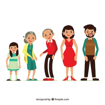 Flat happy family with grandparents