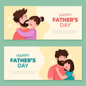 Flat happy father's day banners set