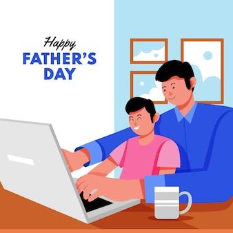 フラット幸せな父の日のイラスト