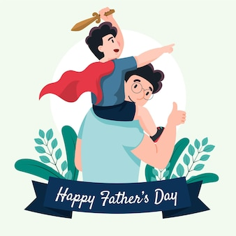 Flat happy father's day illustration