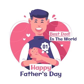 Плоский счастливый день отца иллюстрация Бесплатные векторы