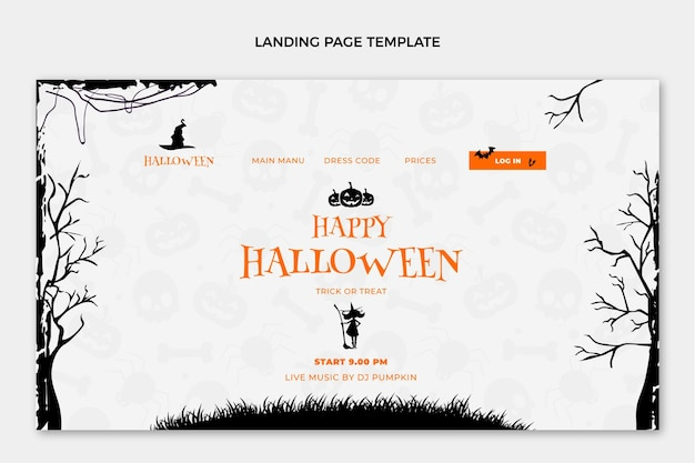 Flat happy halloween landing page template