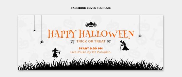 Flat happy halloween social media cover template