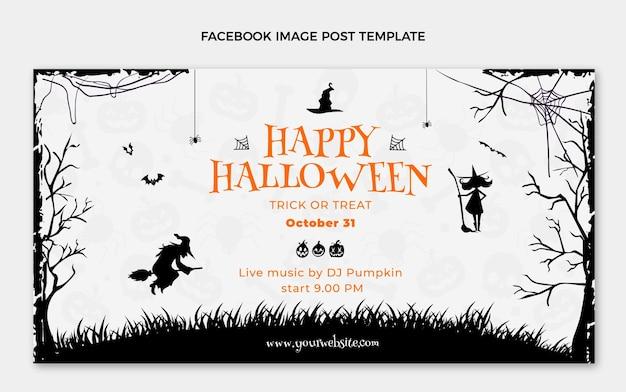 Flat happy halloween social media post template