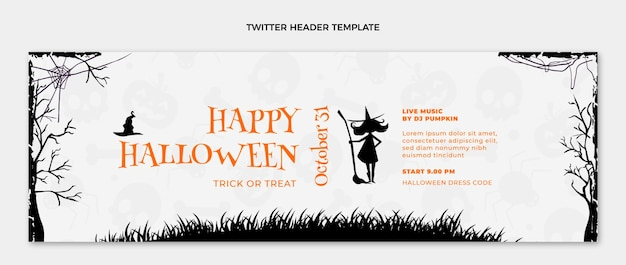 Flat happy halloween twitter cover template
