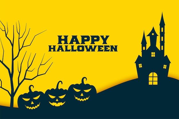 Fondo giallo piatto felice di halloween con zucca e castello