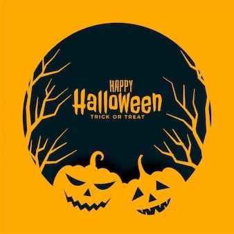 Fondo giallo piatto felice di halloween con alberi e zucche