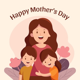 Flat happy mother's day illustration