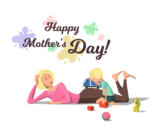 Векторная иллюстрация flat happy mothers day mom.