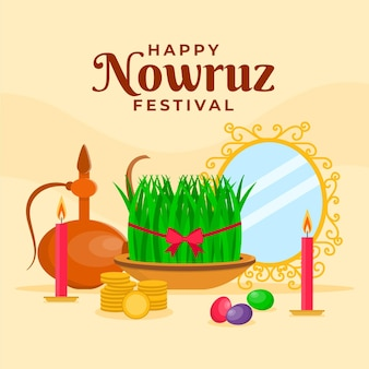 Flat happy nowruz celebrating