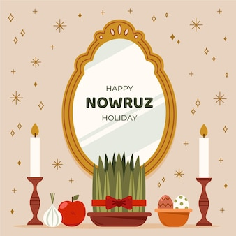 Flat happy nowruz celebration