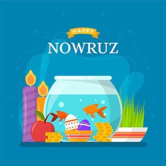 Flat happy nowruz elements Premium Vector