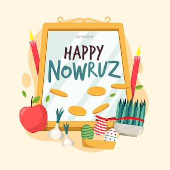 Flat happy nowruz event elements