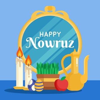 Flat happy nowruz illustration