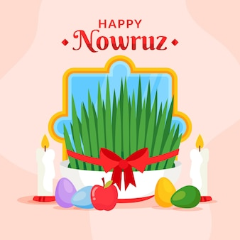 Flat happy nowruz illustrations