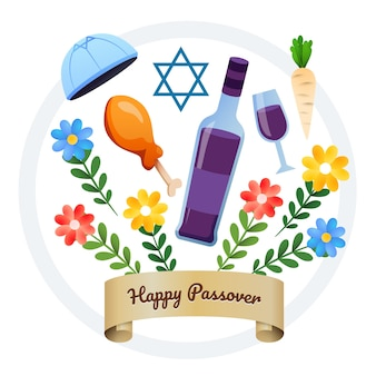 Flat happy passover background