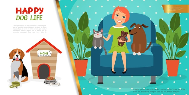 Flat happy pets life concept with cute girl puppy and kitten sitting in armchair dog near kennel bowl with food bone leash