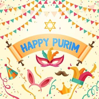 Flat happy purim day concept