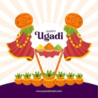 Flat happy ugadi celebration banner