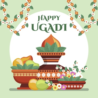 Flat happy ugadi illustration