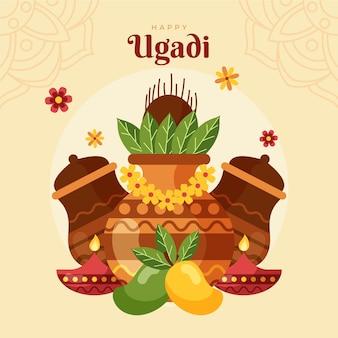 Flat happyugadi illustration