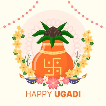 Illustrazione piatta felice ugadi