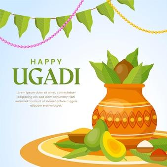 Flat happy ugadi illustration