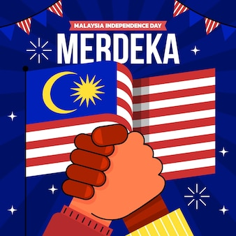 Illustrazione piatta hari merdeka
