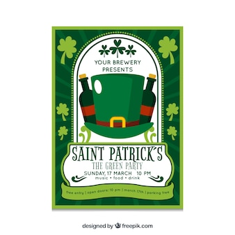Flat hat st patrick's party poster