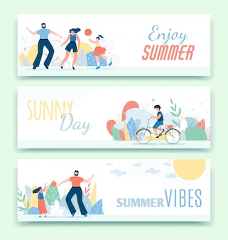 Flat header banner set with active family spending time outdoors