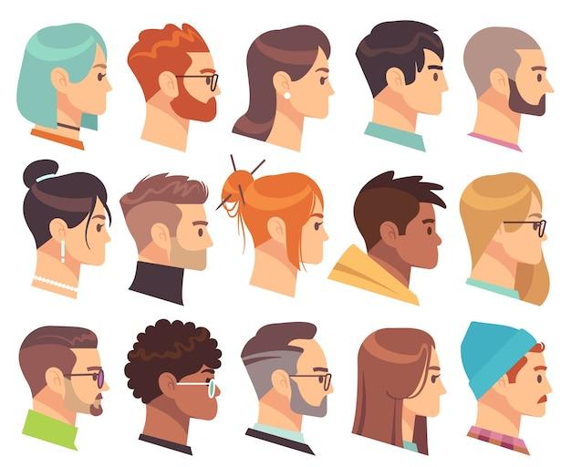 プロファイルのフラットヘッド。さまざまな髪型とアクセサリーを持つ男性と女性のさまざまな人間の頭。カラフルなウェブアバターの顔の文字セットのシンプルなシンボル