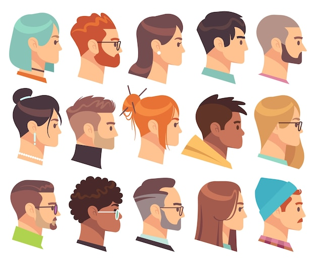 Flat heads in profile. different human heads, male and female with various hairstyles and accessories. colorful web avatars  simple symbol of face character set