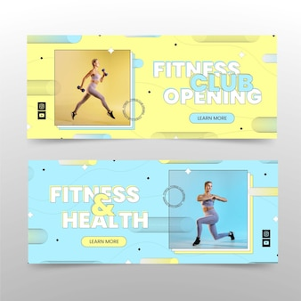 写真で設定されたフラットな健康とフィットネスの水平バナー