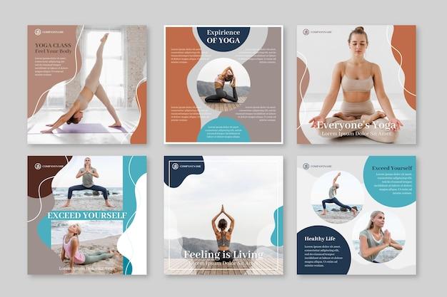 フラットな健康とフィットネスのinstagramの投稿コレクションと写真