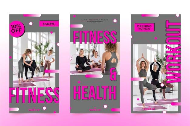 写真付きのフラットな健康とフィットネスのinstagramストーリーコレクション