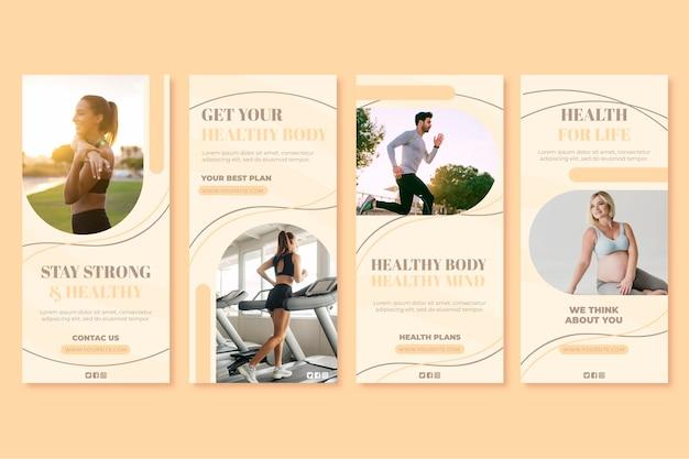 Коллекция историй о здоровье и фитнесе в instagram с фото