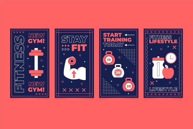플랫 건강 및 피트니스 인스 타 그램 스토리 컬렉션