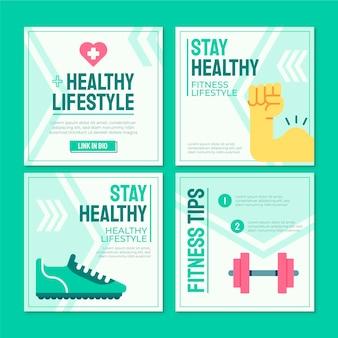 フラットな健康とフィットネスの投稿コレクション
