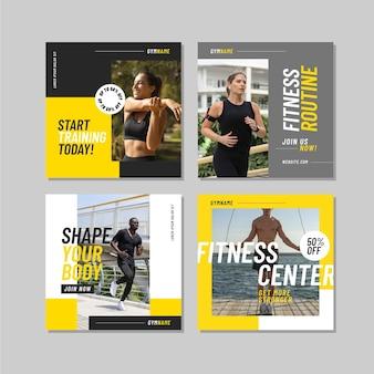 Плоский пакет сообщений о здоровье и фитнесе с фото Бесплатные векторы