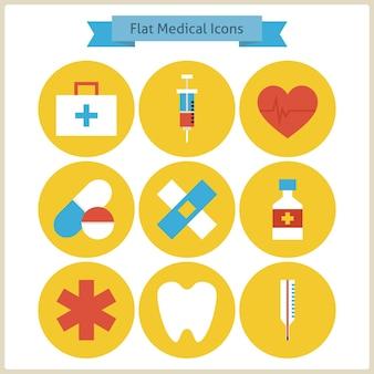 フラット健康と薬のアイコンを設定します。ベクトルイラスト。ヘルスケアと医療のカラフルなサークルアイコンのコレクション。健康的なライフスタイルと病院