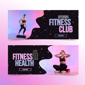 Flat health and fitness horizontal banners set with photo