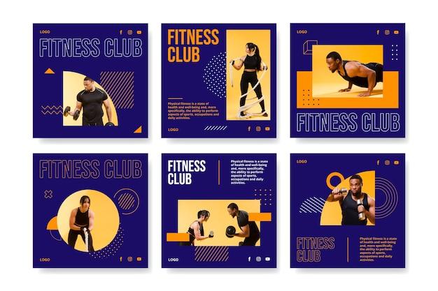 Raccolta di post di instagram di salute e fitness piatta con foto