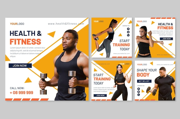 Flat health and fitness instagram posts collection with photo