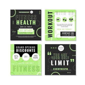 Raccolta di post instagram di salute e fitness piatta flat