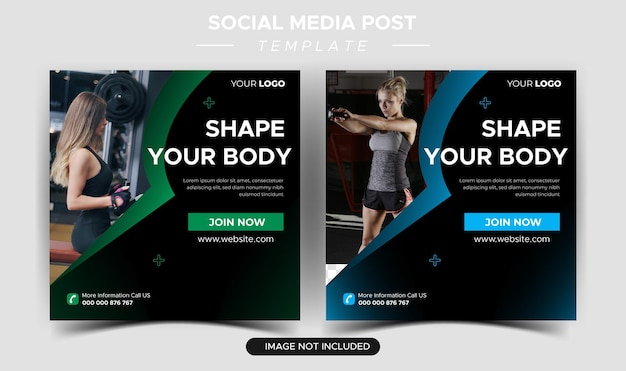 Flat health and fitness instagram posts collection