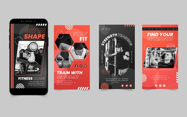 Flat health and fitness instagram stories collection with photo