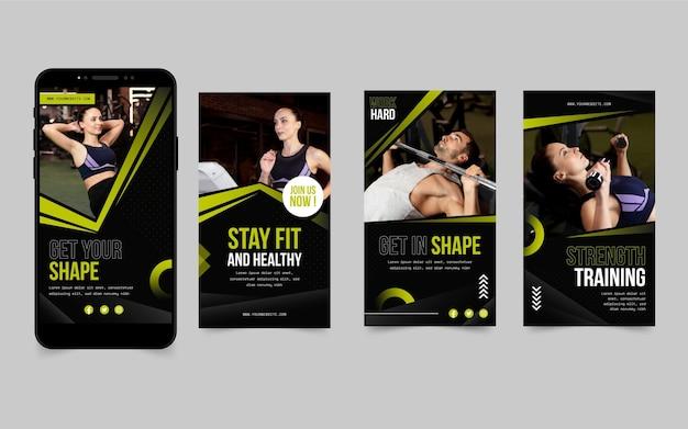 Raccolta di storie di instagram di salute e fitness piatta con foto